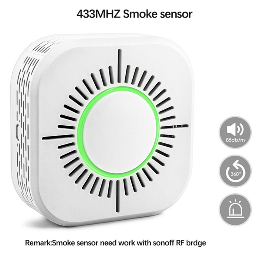 433MHZ Wireless Smoke Alarm High Sensitivity Photoelectric Smoke Detector Fire Security Alarm, Compatible With RF Bridge Gateway