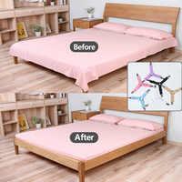 4 Pcs/Set Bed Linen Sheet Clip Bed Sheet Belt Fastener Mattress Elastic Non-slip Clip Blanket Gripper White And Black Bedding