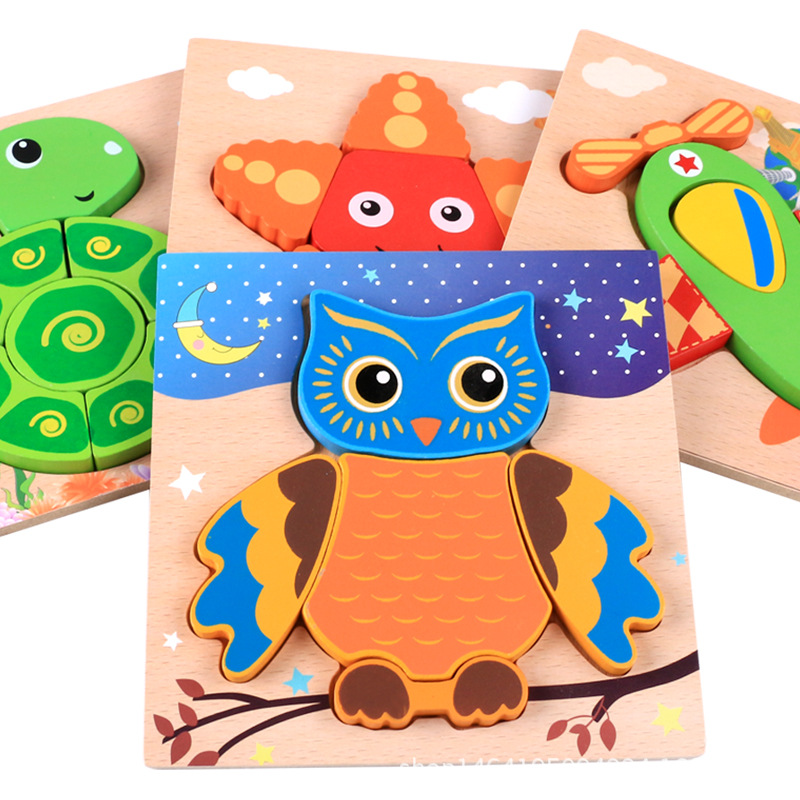 Creative 3D Wooden Puzzle Cartoon Animal Traffic Cognition Jigsaw Colorful Early Educational Toys For Children Kids Baby