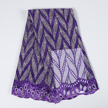 Latest African Lace Fabric Purple Leaves 2019 Embroidery Beads Swiss Voile Tulle For Women Wedding Dress