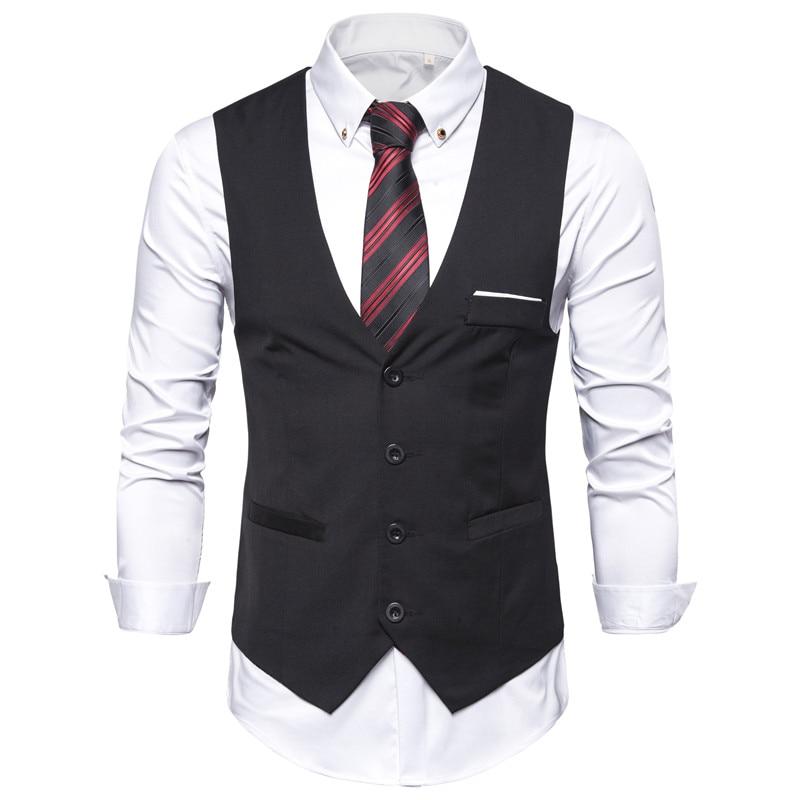 6XL Big Size Mens Black Blue Red Dress Vest Waistcoat For Men Sleeveless Blazer Business Casual Suit Vests Formal Chaleco Hombre