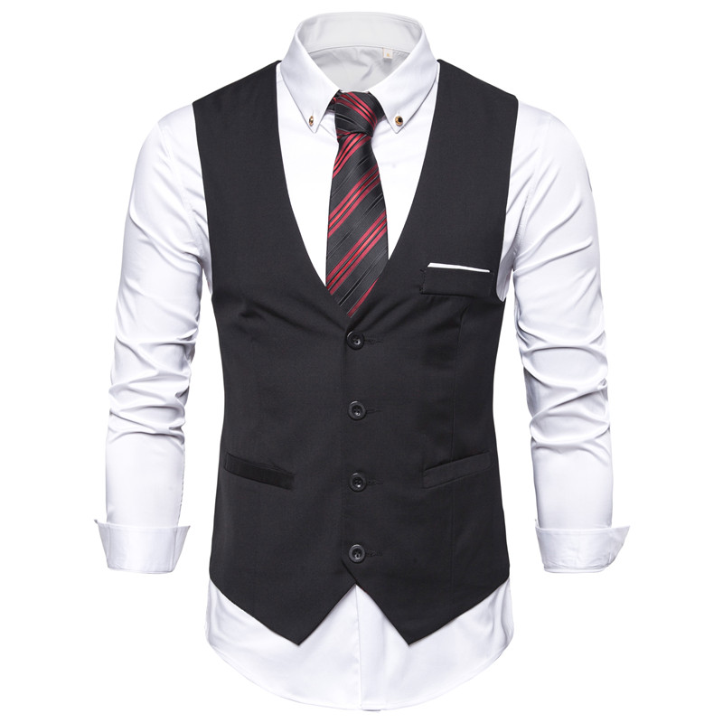 Mens Slim Dress Vest Black Blue Red Waistcoat For Men Sleeveless Jacket Blazer Business Casual Suit Vests Formal Chaleco Hombre