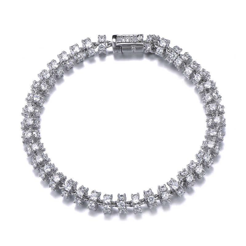 Hip Hop 6MM Bling AAA CZ cyrkonia Iced Out okrągły Link Chain bransoletki dla kobiet mężczyzn biżuteria raper