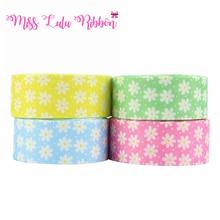 Factory Price Custom 50 Yards Cartoon Printing Ribbon 22MM, 25MM, 38MM Grosgrain Ribbon With Floral Pattern
