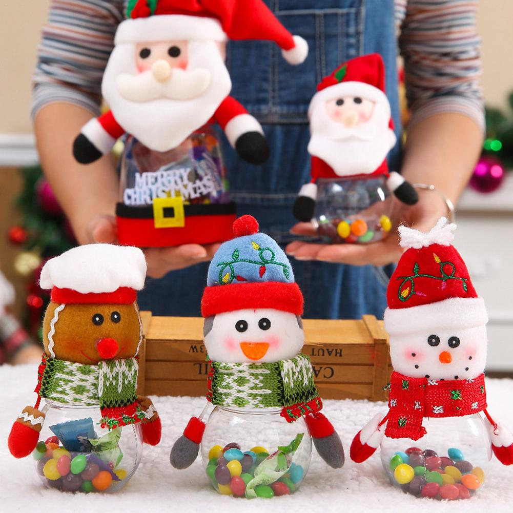 Christmas Children's Candy Jar Old Man Snowman Deer Ornament Props Gift Party Supplies Transparent Cans