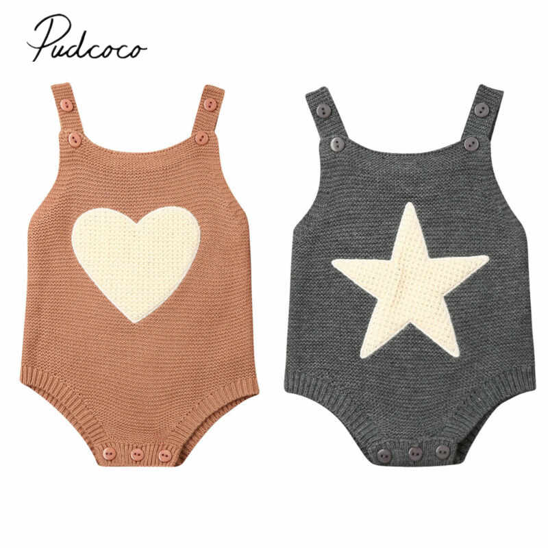 2019 Baby Spring Autumn  Clothing Newborn Infant Baby Boy Girl Knitted Bodysuit Jumpsuit Sleeveless Outfits Heart Star Clothes