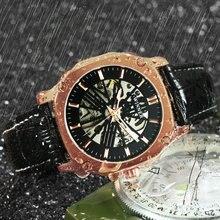 WINNER officiel à la mode hommes montres Top marque de luxe automatique squelette montre hommes bracelet en cuir carré mécanique montre-bracelet