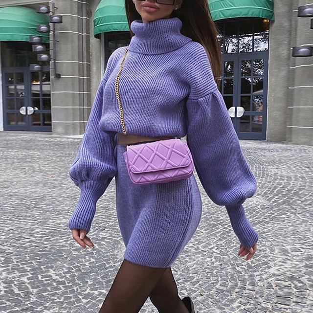 Elegant high neck knitted dress Loose Lantern Sleeve