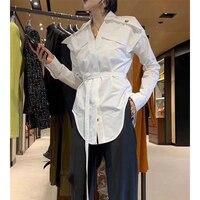 Cosmicchic 2020 Womens White Tops And Blouses Long Sleeve Lapel Collar High Waist Irregular Vintage Belt Blouse Fashion Shirt