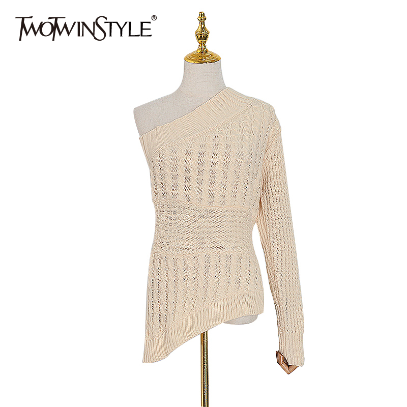 TWOTWINSTYLE One Shoulder Knitted Sweater For Women Skew Collar Long Sleeve Asymmetrical Sweaters Female 2020 Spring Fashion New