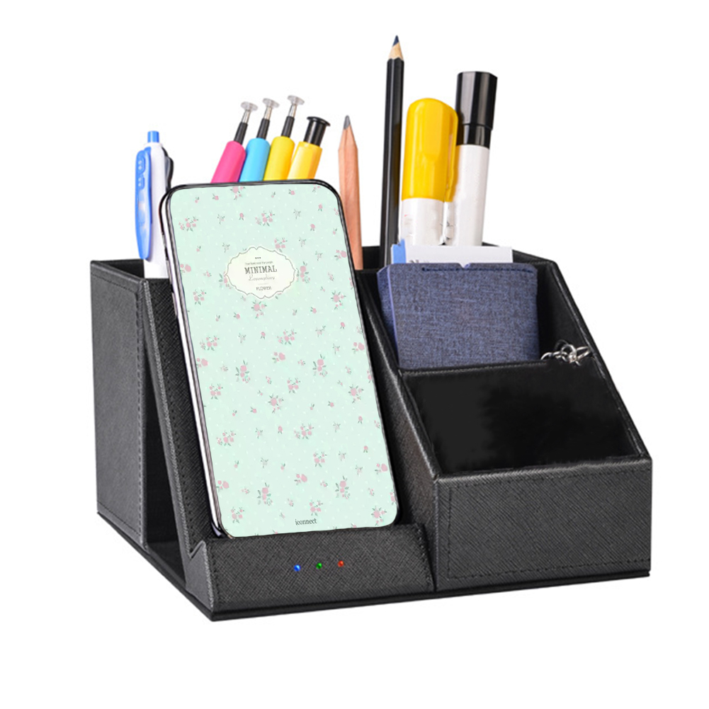 Desktop Storage Stand Universal Station Organizer Container Wireless Charger Multifunction Office Black Pen Holder PU Leather