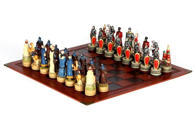 Jeu d'échecs avec personnages en en résine thème de guerre russe mongolie (guerre de la principauté de Ross) 4