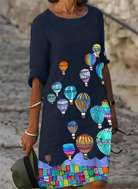 Fashion casual dress large size loose dress temperamental mid-sleeve dress 4