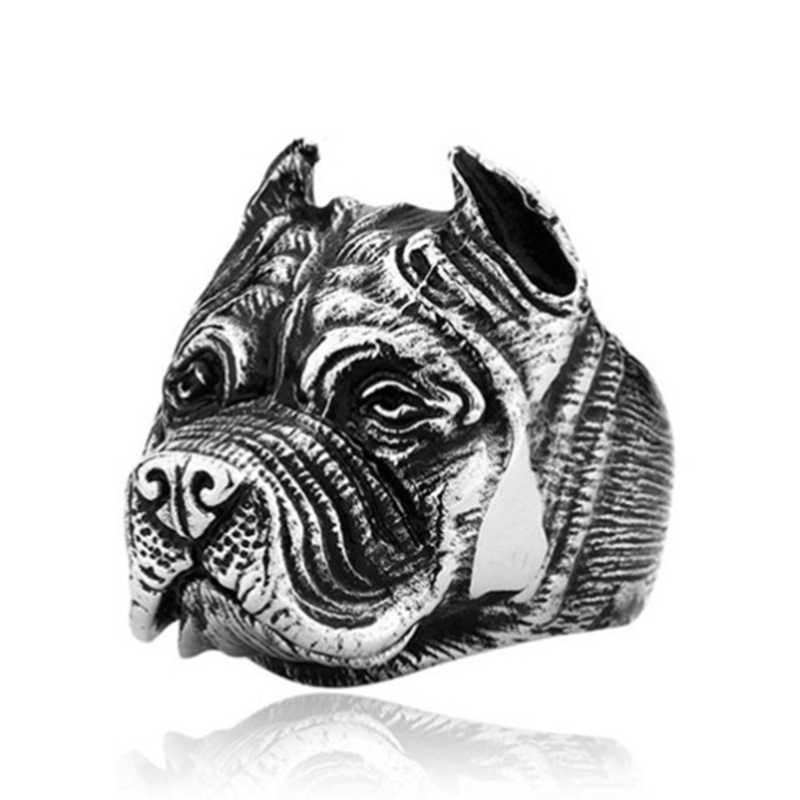 عالية الجودة الشرير الكلب الفولاذ المقاوم للصدأ التيتانيوم الحيوان حفرة الثور الكلب خاتم الرجال شخصية فريدة من نوعها الرجال المجوهرات