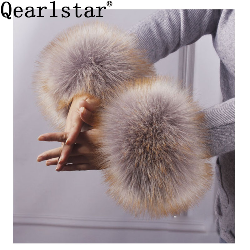 Qearlstar Women Faux Fox Fur Cuffs Wristband Winter Warmer Arm Wrist Raccoon Fur Sleeve Gloves Female Elastic Oversleeve 2pcs