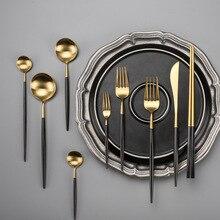 Tableware Knife-Set Fork Teaspoon Black-Handle Dinner-Scoop Stainless-Steel Gold New