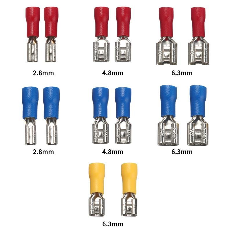 50 шт., 2,8 мм, 4,8 мм, 6,3 мм, изолированное уплотнение, проволочный соединитель, Женский обжимной терминал, набор электрических обжимных клемм - Цвет: Коричневый