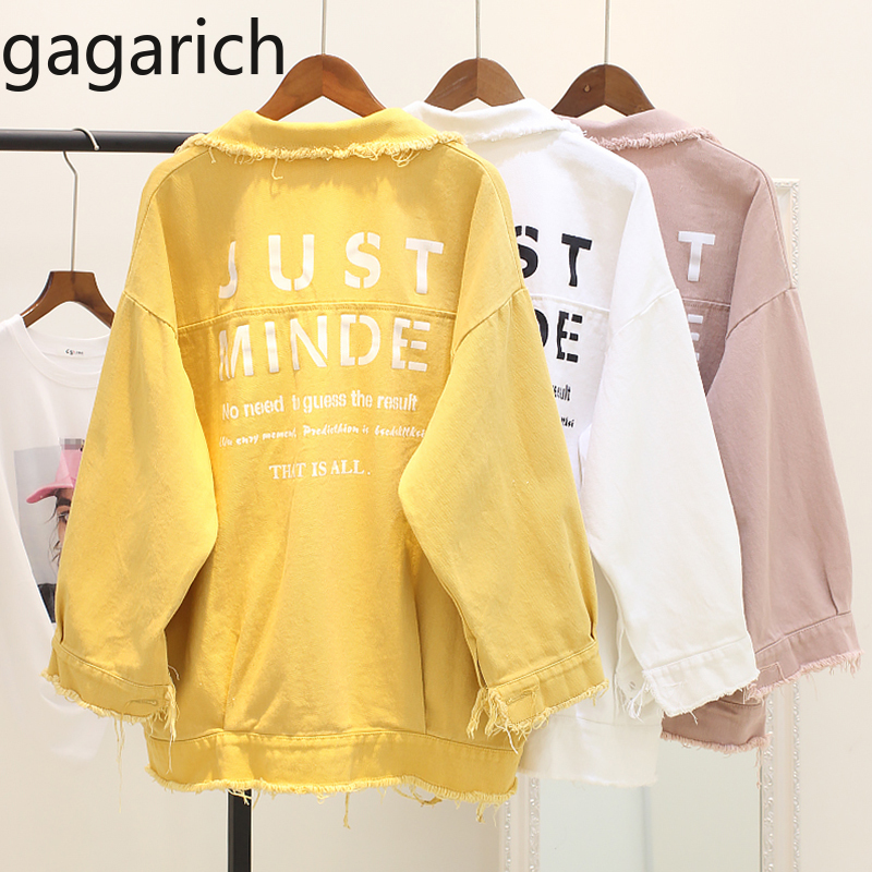 Gagarich Letter Print Boyfriend Jeans Jacket For Women Girl Candy Color Denim Cotton Jacket Lady Coat Loose Hole Chaqueta Mujer
