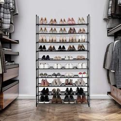 Armoire à chaussures en acier noir, 100x30x176cm, 10 couches, porte-chaussures de très grande capacité, mobilier de maison, HWC