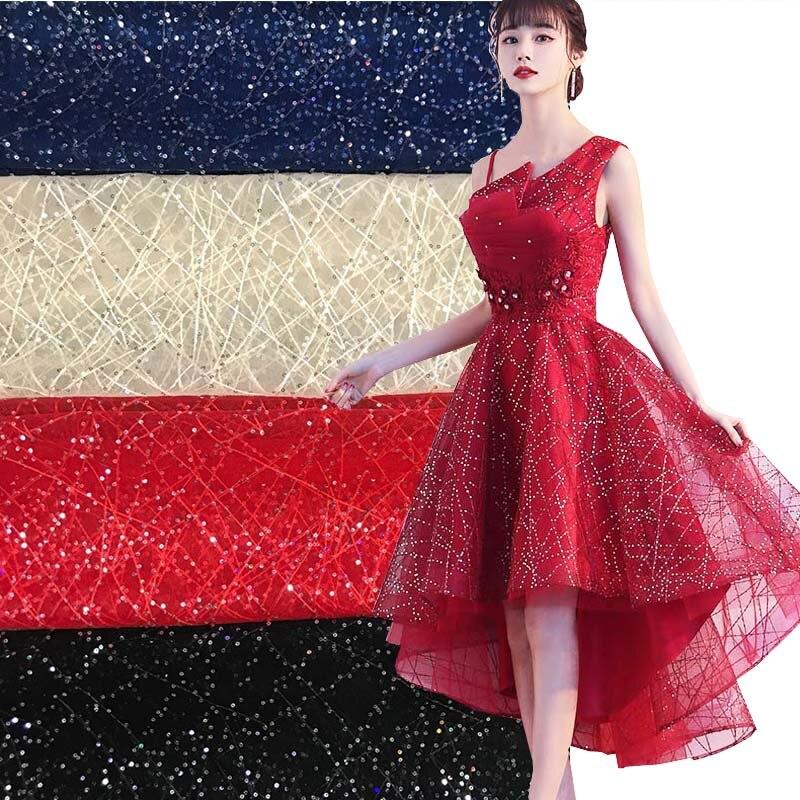 2020 afrika düğün dantel Sequins kumaş elbise için, Diy doku örgü işlemeli Patchwork dikiş malzemesi kumaş, fantezi kumaşlar