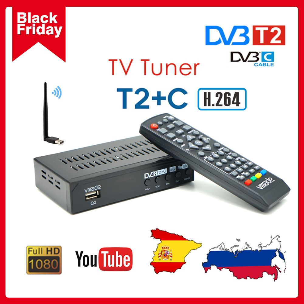 Vmade 2020 dvb t2 + c dvb t2 приемник ТВ цифровой телеприставка dvb c наземный приемник Поддержка youtube USB wifi dvb t2 ТВ тюнер
