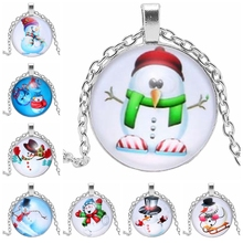 2019 Christmas Gifts Snowman Pendant Necklace Glass Round Gift Essential Chain