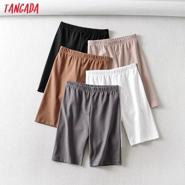 Tangada 2021 Women Vintage Strethy Solid Legging Shorts Female Retro Casual Shorts Pantalones 2B31 1