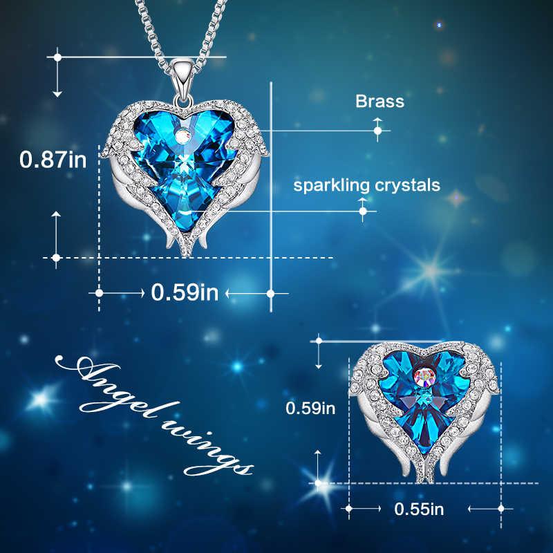 Cdyle Engel Flügel Herz Geformt Halskette Ohrringe Set Hochzeit Braut Frauen Schmuck Sets mit Top Qualität Kristall 10 Farbe