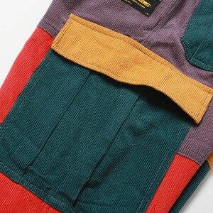 Image 4 - Hip Hip Broek Vintage Kleur Blok Patchwork Corduroy Cargo Harem Broek Streetwear Harajuku Jogger Sweatpant Katoenen Broek 2019