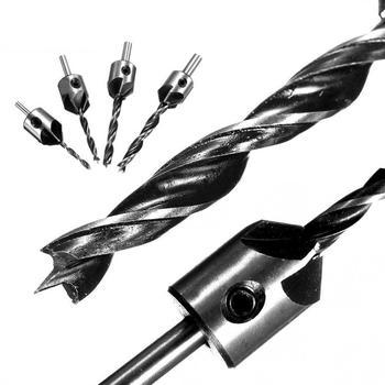 цена на 4pcs Drill Bits HSS 5 Flute 3-6mm Countersink Drill Bit Set Reamer Woodworking Chamfer   High Speed Steel Twist Drill Bit