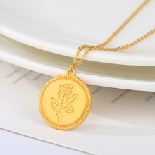 New Fashion Retro Circular Rose Pendant Women Exquisite Korean Gold Chain Choker Silver Stainless Steel Jewelry Accessories