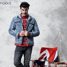 Fgkks marca de moda homens denim jaquetas outono inverno novo masculino casual denim casaco homem plus veludo com capuz denim jaqueta