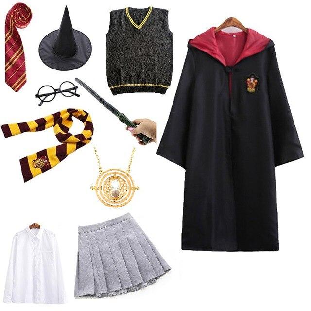 Halloween Kostüm Für Kinder Mädchen Männer Frauen Robe Umhang mit Pullover Rock Kleid Wizard Magic School Uniform Granger Cosplay