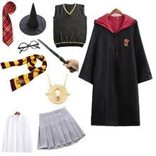 Costume d'halloween pour enfants filles hommes femmes, Robe cape avec pull, jupe, uniforme de l'école de magie Granger Cosplay