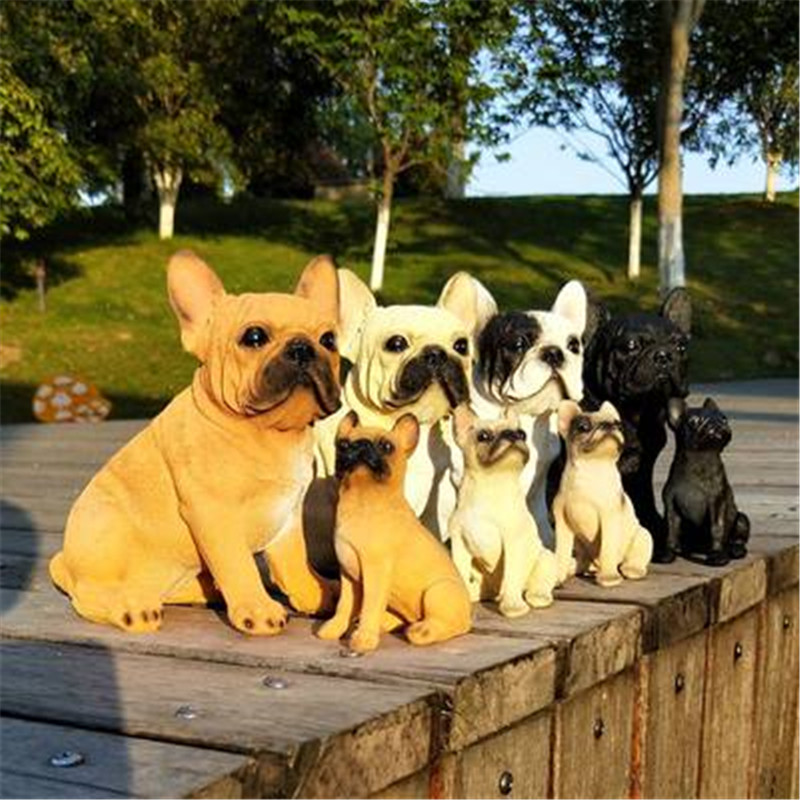 Cute Puppy Statue Simulation Animal Dog French Bulldog Creative Home Decor Resin Action Figure Collectible Model Toy P1589