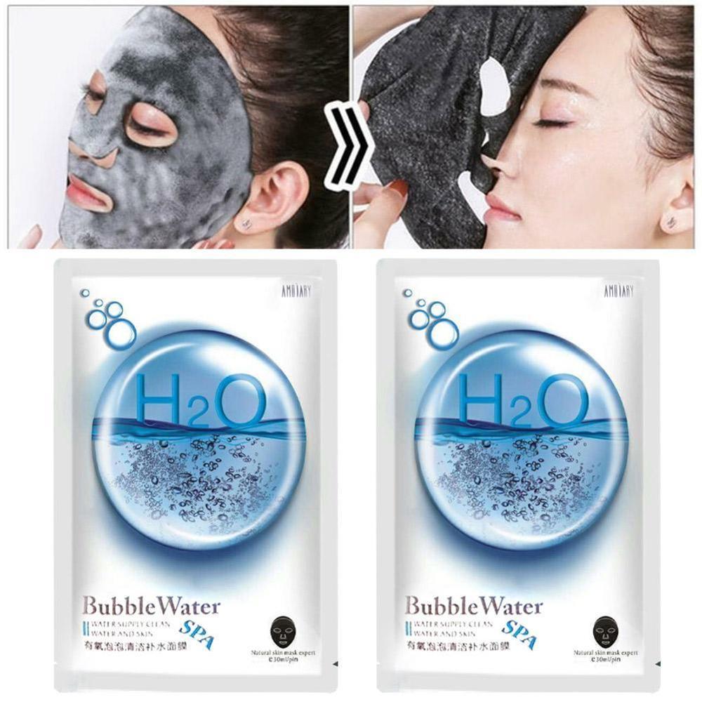 1 Piece Oxygen Bubble Sheet Mask Korean Cleansing Mask Remove Dirt Blackhead Moisturizing Bamboo Charcoal Black Face Mask Facial