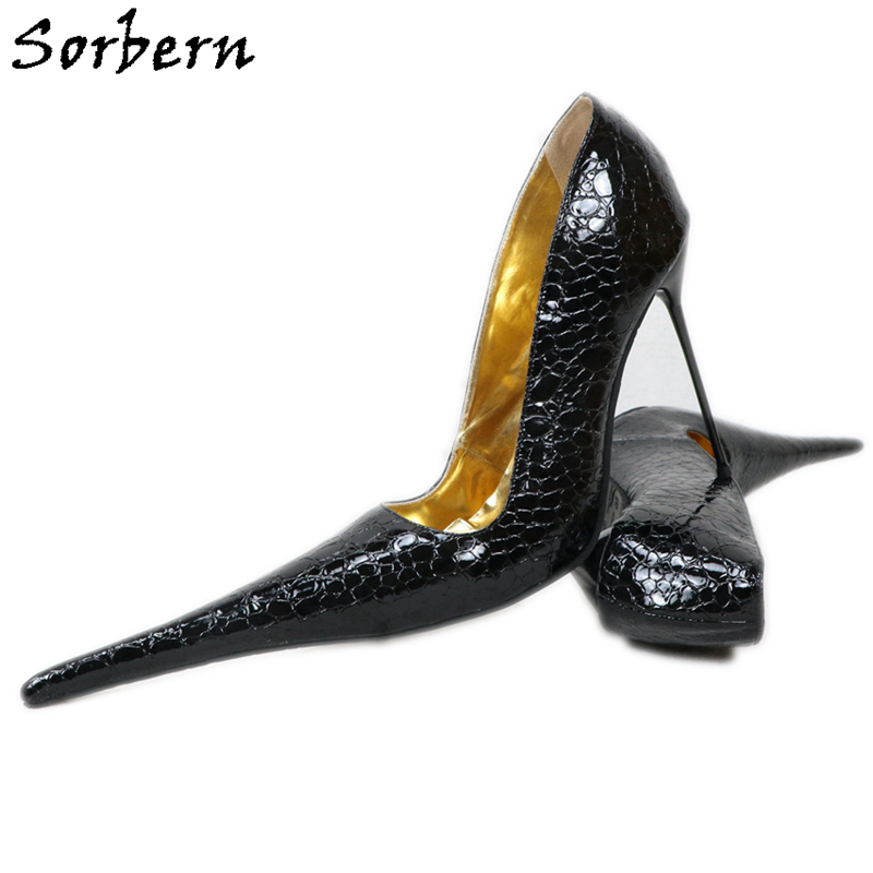 Sorbern Super Long Pointed Toe Women Pumps Slip On Snakeskin Red High Heels Steel Heels Size 32-52 Shoes Unisex Fetish Custom