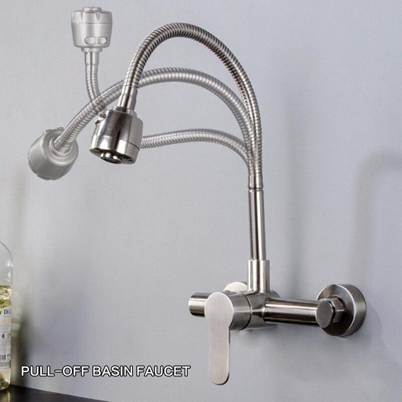 304 SUS robinets de cuisine brossé mural robinet d'eau mélangeur eau chaude froide salle de bains rotation robinet mitigeur robinets de cuisine