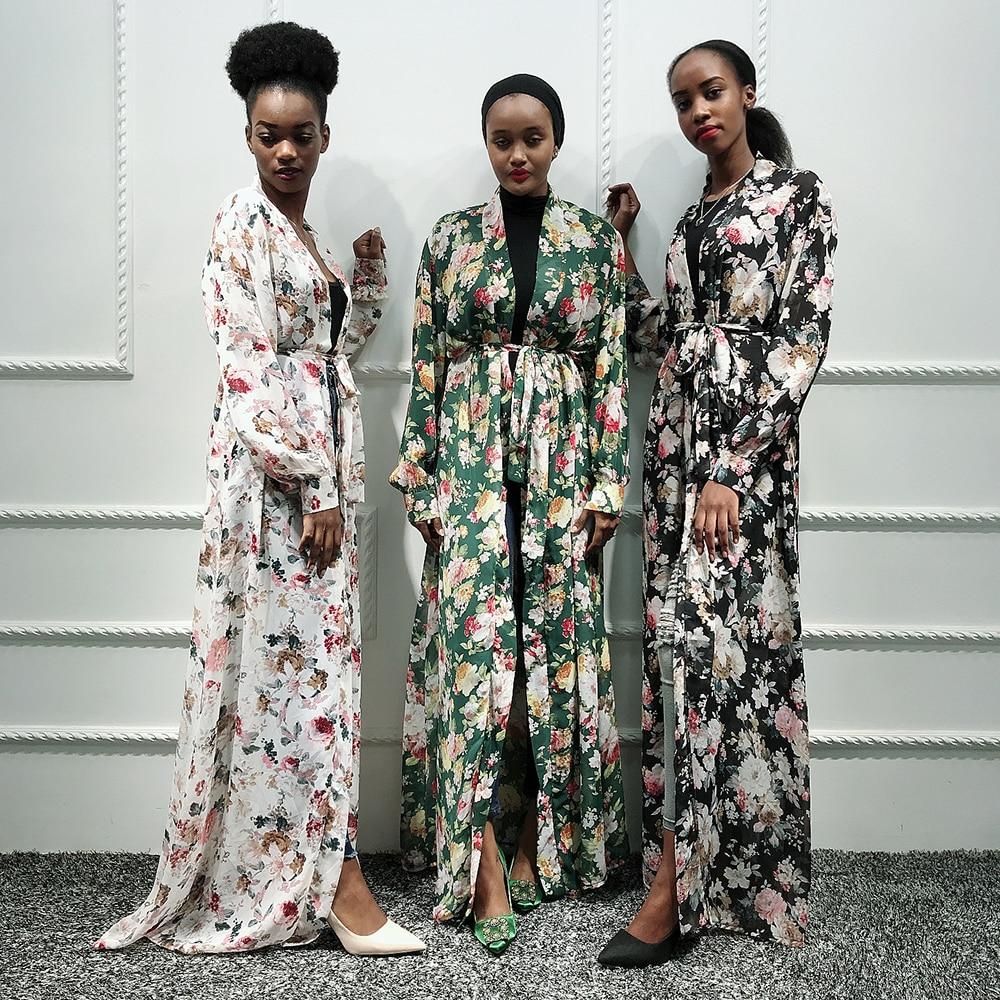 Chiffon Kaftan Dubai Abaya Kimono Muslim Hijab Dress Caftan Pakistan Turkish Islam Clothing Saudi Arab African Dresses For Women