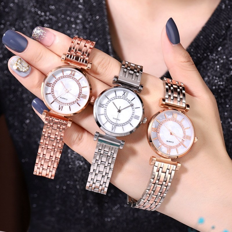 Women Watches Luxury Crystal Quartz Wristwatch Woman Creative Wrist Watch Women Elegant Female Clock Simple Steel Ladies Watch