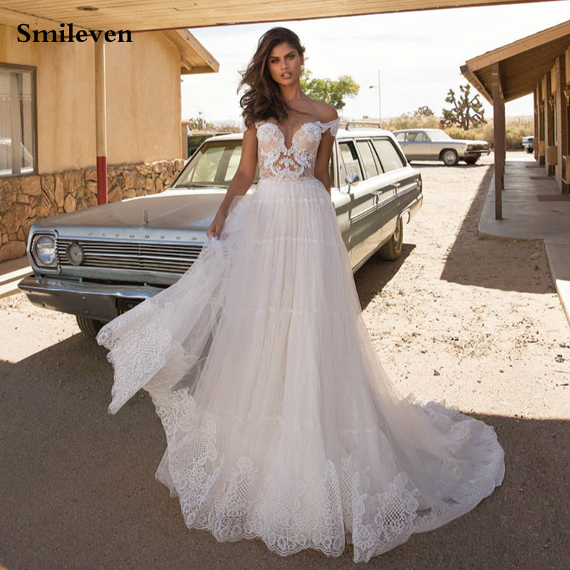 Smileven Turkey Lace Wedding Dress A Line Nude Top Lace Bride Gowns Boho Bride Dress  Vestido De Noiva