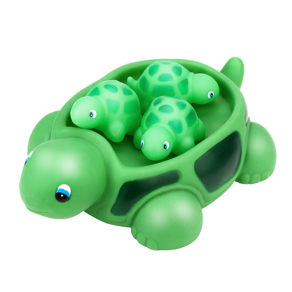 Kids Beach Bath Toys Rubber Cute Cartoon Sea Turtle Bathtub Pals Floating Bath Tub Toy Animal Turtle Classic Bath Toys For Baby