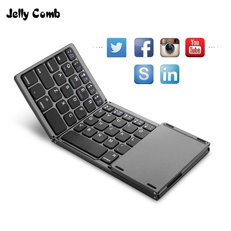 Jelly Comb Rechargerable Portable Mini Bluetooth Wireless Keyboard Foldable with Touchpad Mouse for Android Windows PC Tablet|Keyboards| - AliExpress