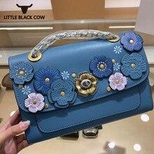Designer Women Colorful Flower Handbag Elegant Ladies Leather Chain Shoulder