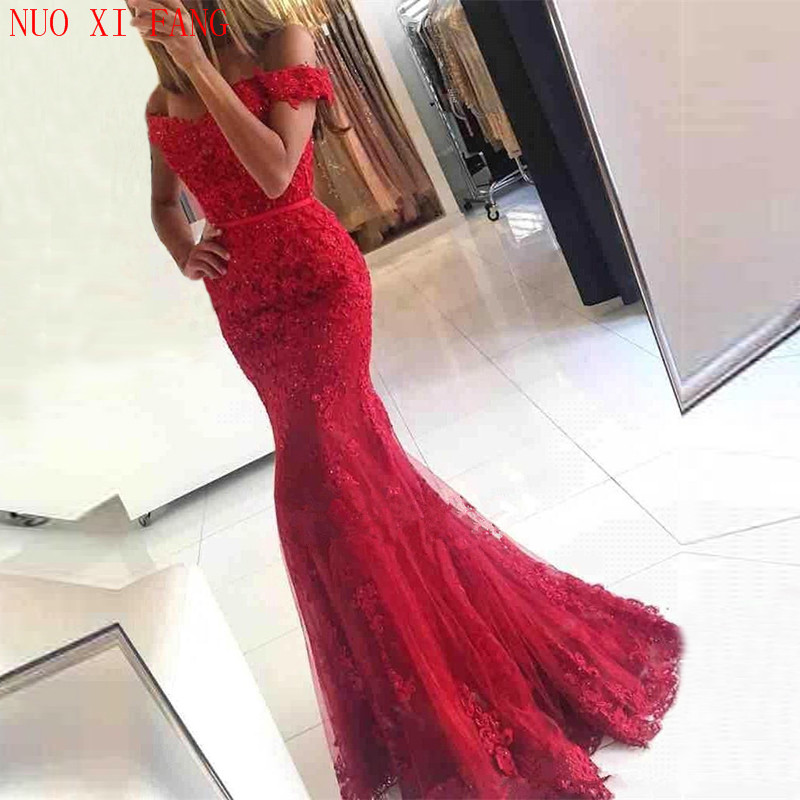 NUOXIFANG New Formal Red Lace Evening Dresses Sweetheart Sexy Wear Mermaid Elegant Prom Party Special Occasion Dress Gowns