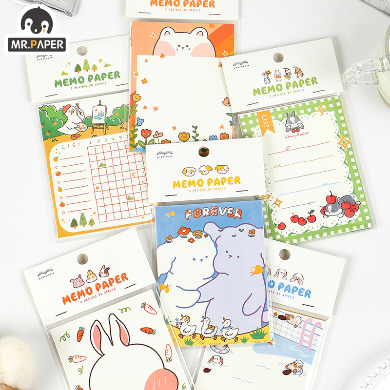 Mr.Paper 30pc/lot 3 Design Adorable Bunny Animal Daily ToDo Check List Memo Paper Pads Notepad Diary Writing Note Down Memo Pads