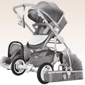 High Landscape Luxury Infant 3 in 1 stroller Baby Stroller Carriage Basket Four Wheels Stroller Baby Safe Seat image