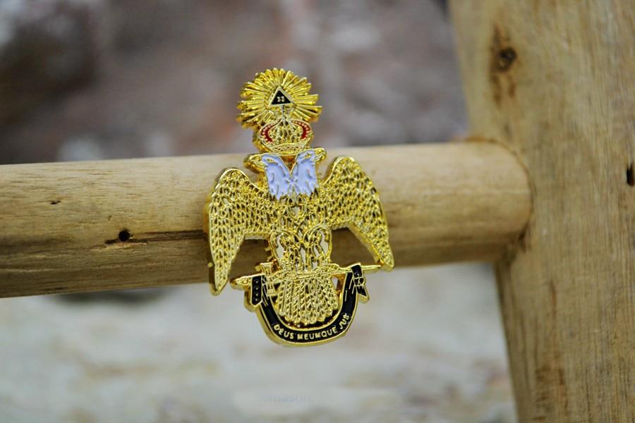 Masonic Lapel Pins Badge Mason Freemason Ancient & Accepted Scottish Rite 33 Degree DEUS MEUMQUE JUS