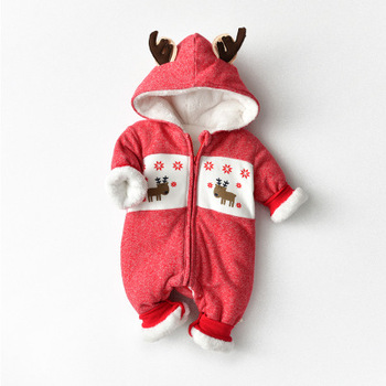 2020 newborn baby clothes Christmas fleece hooded deer jumpsuit baby boy clothes christmas clothes baby romper baby girl clothes