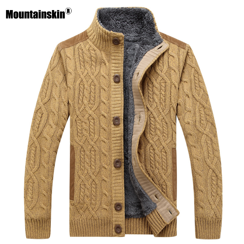 Mountainskin Mens Thick Sweaters Winter Autumn Men Sweater Coat Velvet Warm Cardigan Jacket Male Brand Clothing SA859